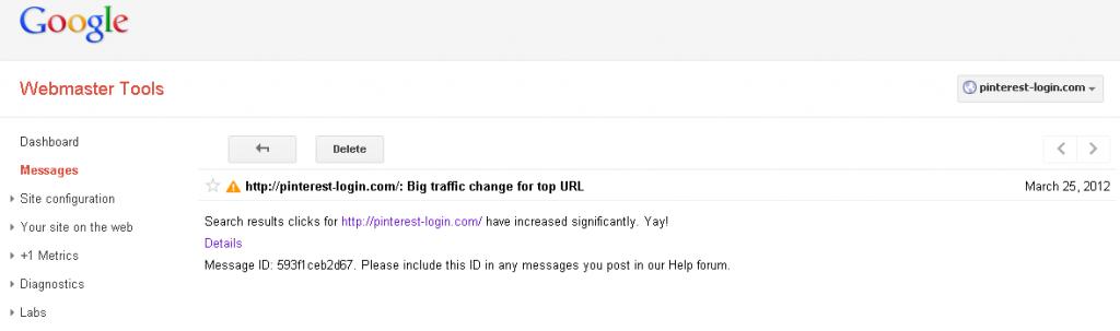 a good news message from google websmater